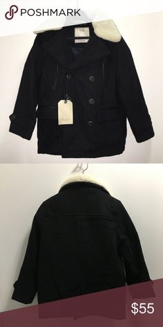 Zara Boys Wool Coat Zara Boys Fashion Collection   Fur hooded wool double breasted winter coat   Black with cream faux fur   Size 6 years  NWT   Very modern, stylish, and warm!  Check out my other items ! I ship same or next day📬 Thanks for looking ! Zara Jackets & Coats
