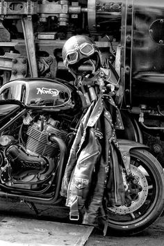 A #Norton & some #leather