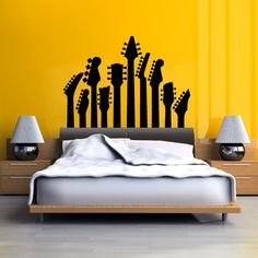 Guitar Necks Decorative Wall Decals - The Guitar Yard. Spice up your bedroom, living room or music room with these guitar necks wall decal! Please refer to colour chart for more colours available. Guitar Bedroom, Music Bedroom, Bedroom Wall, Bedroom Decor, Home Music Rooms, Master Bedroom, Home Interior, Interior Design, Steampunk Furniture