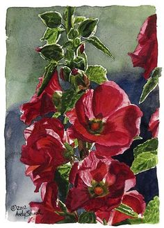 """Hollyhock Reds"" - Original Fine Art for Sale - © Andy Sewell"
