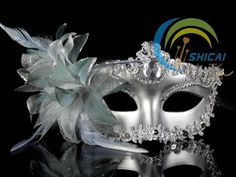 Silver Masquerade Fancy Dress Eye Mask Party Prom Eyemask Feathers Colombina