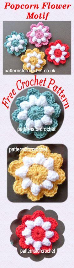 Free crochet pattern for popcorn flower motif, great to add to blankets, hats etc. #crochet