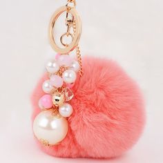 Artificial Pearl Beads Fuzzy Ball Keyring #jewelry, #women, #men, #hats, #watches, #belts, #fashion