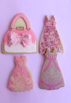 purse dress cookies~      By cakes haute couture cookies - Pink