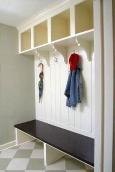 I want....  Entryway organization. with baskets under bench for each person