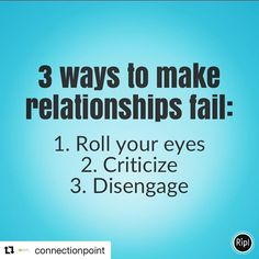 #Repost @connectionpoint  Rolling your eyes is actually a form of contempt and people won't thrive in an atmosphere of contempt hence neither will your relationship. Criticism is judgement and who appreciates or learns through being criticized. Disengaging emotionally or physically means you've left the relationship and are not invested in it. Change any of these three behaviours and you can help shift your relationships. If you need support to figure it out I have a simple easy online…