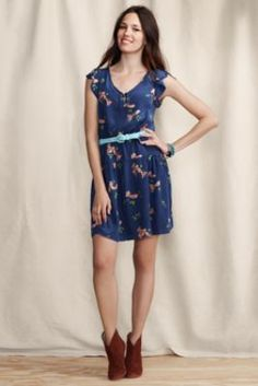 Womens Silk Tie Front Dress from Lands End Canvas: This is super cute... I could totally see myself wearing this :) Love it, have to pass it on! (and it's on sale right now) <3
