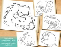 Steam Punk Critter Cards - Color Your Own Download by allybstudio on Etsy