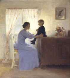 Mother and Child in an Interior ~ Peter Vilhelm Ilsted (Danish artist, 1861-1933)