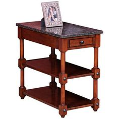Captivating Leick Furniture Stone Terrace Granite Top End Table   $239