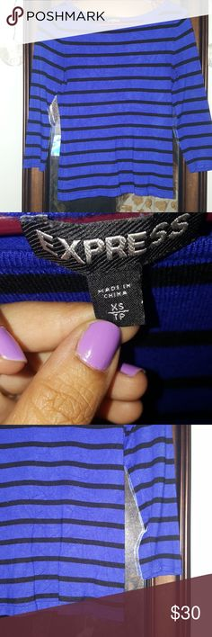 3 quarter sleeve crop top sweater Express blue with black stripes, very soft. Almost a cobalt blue shade. Gently worn, no snags. XS, boat neck. 3 quarter sleeve. Looks great with high waisted jeans. Dress up or down, works either way. Very well kept. Express Sweaters Crew & Scoop Necks