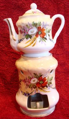 French Veilleuse Demitasse Teapot On Warming Stand Hand Painted from darcysantiquetreasures on Ruby Lane