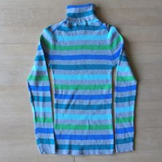 NWOT Faded Glory Turtleneck Sweater | S NWOT striped blue/turquoise with gray sweater. 100% cotton. Machine wash cold, tumble dry low. Faded Glory Sweaters Cowl & Turtlenecks