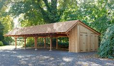 Timber Frame Carport in Wynncote, PA - traditional - garage and shed - philadelphia - Mid-Atlantic Timber Frames