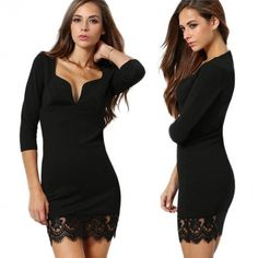 Sexy Women 3/4 Sleeve Deep V Neck Lace Hem Slim Bodycon High Waist Casual Mini Dress