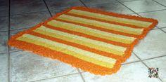 Baby blanket, crochet, handmade, made in italy, yellow, orange, stripes, bed, acrylic, linen, cradle, dream, sunrise