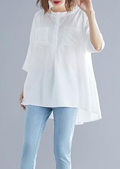 hairstyles Art white cotton top silhouette low high design Midi summer half sleeve shirt you can find similar pins below. We have brought the best of . Stylish Dresses For Girls, Casual Dresses, Chic Outfits, Fashion Outfits, Fashion Trends, Trending Fashion, Ny Dress, Half Sleeve Shirts, Mode Hijab