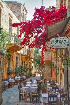 Greece Travel Inspiration - Sidewalk Cafe, Isle of Crete, Greece #greecetravel