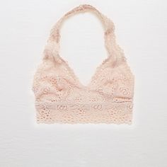 Aerie Halter Boho Bralette ($15) ❤ liked on Polyvore featuring intimates, bras, pink, halter-neck tops, stretch bra, colorful bras, aerie bras and lace bra