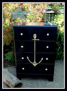 Hometalk :: Vintage ANCHOR Nautical COASTAL Dresser MAKEOVER I just am drawn to this chest of drawers. I know I would find a place for it in my dream beach cottage! Coastal Style, Coastal Decor, Coastal Living, Coastal Colors, Coastal Cottage, Coastal Dresser, Nautical Dresser, Navy Dresser, Brown Dresser