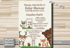 Woodland Baby Shower Invitation  Baby Shower by DigitalitemsShop
