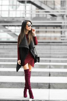 Top :: Oak long vest (under $100), Helmut Lang shearling vest Dress :: ASOS Shoes :: Stuart Weitzman Bag :: Chanel Accessories :: Karen Walker sunglasses, Rolex watch
