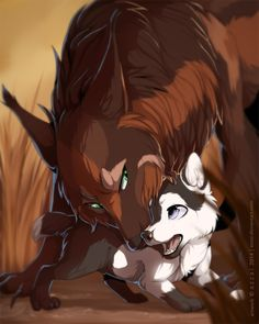 This is Oak and his pup storm. He is brother to cyclone,but he thinks cyclone is dead. His mate was killed by hunters and his other pup stolen, but she saved one pup,storm. He was once the alpha of a pack, but we overthrown by cyclone. He is smart,strong,muscular,fast,cruel,cunning,agile,sneaky,fierce,and handsome. He is VERY protective of his pup Storm. Storm is a middle aged pup,about 5 moons old. He is mischievous,curious,brave,adventurous,and already shows promise of being a skilled…