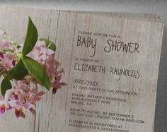 Rustic Phalaenopsis Orchid Baby Shower Invitation