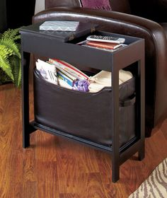 Side Storage Table with Bin Delivered in 10 business days Slim and versatile Side Storage Table with Bin offers a lot of storage space without crowding your room. The richly finished wooden table has