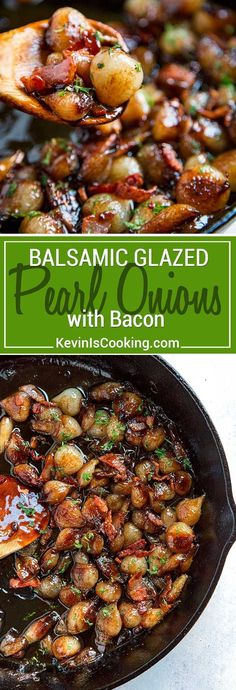 These Balsamic Glazed Pearl Onions with Bacon are perfect for any dinner table as a side dish or spooned over roasted or grilled meat. The caramelization! via @keviniscooking #onions #bacon