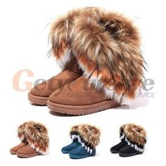 New Women Shoes Winter Warm High Snow Ankle Boots Faux Fox Flat Snow Boots http://ebay.to/1MI06AN