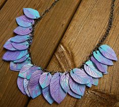 Fairy purple polymer clay leaves necklace.