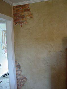 love this faux brick wall