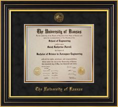 University of Kansas Diploma Frame - Satin Black - w/KU Embossed Seal