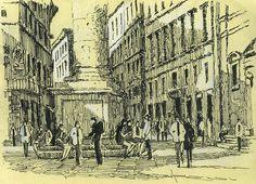 Piazza di Santa Trinita, florence, italy, drawing, pen Rob Adams, Thrifting, Funny Animals, Survival, Paintings, Illustrations, Drawing, Projects, Outdoor
