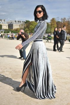 Dramatic- Black and White Turtleneck, Black and White Pleated Maxi Skirt with Slit- Another stunning ensemble