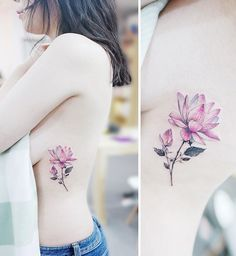 ideas for tattoo small watercolor lotus flowers Side Tattoos, Trendy Tattoos, Cool Tattoos, Flower Tattoo Meanings, Flower Tattoos, Tattoos For Women Small, Small Tattoos, Detailliertes Tattoo, Tattoo Thigh