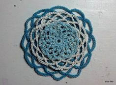Mandala 27. Layers of Longing --- The Flux. Layered Crochet Art Mandala in Blues and Whites//The Mandala Project by Alice Fate www.alicefate.com/mandala-project