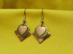 Sweet Heart copper and gold earrings by sunmetaljewelry on Etsy, $9.00