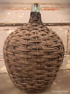 Old French Wicker Demijohns-  Perfect Accent