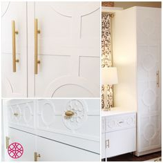Creating awesome home decor just got easier. Mix and match your Grace and Quatrefoil O'verlays on the Ikea Pax wardrobe and Ikea Besta console with beautiful results.