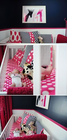 Baby Olivia and Her Pink and Navy Nursery