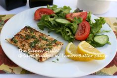 Grilled halibut with lemon butter sauce. Nutrition: Per Serving About: 260 calories, 9 g fat, 2 g saturated fat, 0 g trans fat, 36 g protein, 3 g carbohydrates, 1 g dietary fiber, 690 mg sodium; WW Points plus value 6