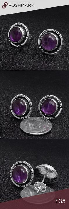 """Sterling Silver & Amethyst Earrings Stamped """"925"""".  This is not a stock photo. The image is of the actual article that is being sold  Sterling silver is an alloy of silver containing 92.5% by mass of silver and 7.5% by mass of other metals, usually copper. The sterling silver standard has a minimum millesimal fineness of 925.  All my jewelry is solid sterling silver. I do not plate.   Hand crafted in Taxco, Mexico.  Will ship within 2 days of order or sooner Jewelry Earrings"""