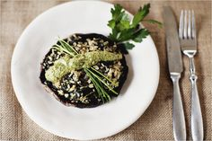 Stuffed Portabellos with Herb Sauce  by Sprouted Kitchen