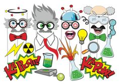 Here is the ultimate collection of Crazy Scientist photo booth props! Tons of Fun!! Great for a table centrepiece or Photo booth!  Contains 23 pieces:  ♥ experiment helmet ♥ 2 x Crazy scientist hair ♥ 3 x Crazy scientist glasses ♥ magnifying glass ♥ 2 x beaker ♥ 3x glasses ♥ experiment remote ♥ Ka Boom sign ♥ Ka Pow sign ♥ 2 x lightening ♥ mastache ♥ toxic waste sign ♥ Lab shirt ♥ 2 x ties ♥ Light bulb  This listing inlcudes one (13) page PDF file with 23 photo props.  This listing is for…