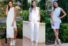 Stay cool throughout the summer and make a statement with a fresh and effortless monochromatic outfit of all white pieces. Create casual looks for the beach, pool or running errands or dressier looks for a weekend brunch or social soiree with these do's and don'ts for wearing all white.   #all white clothing #spring trends #summer trends #white clothes