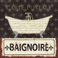 Posterazzi Vintage Bath V Canvas Art - Pela Studio x Bath Pictures, Bathroom Pictures, Bathroom Ideas, French Country Cottage, Country Art, Bathroom Artwork, Bathroom Signs, Chef Kitchen Decor, Studio 24