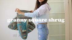 did you know you can make a shrug or cardigan from a plain old granny square? Check out this video for the whole tutoiral Granny Square Crochet Pattern, Crochet Granny, Knitting Patterns, Crochet Patterns, Cocoon Cardigan, Cardigan Pattern, Learn To Crochet, Cute Crochet, Slip Stitch
