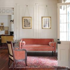 elegant sofa in blush pink velvet #regram from @terra_naut